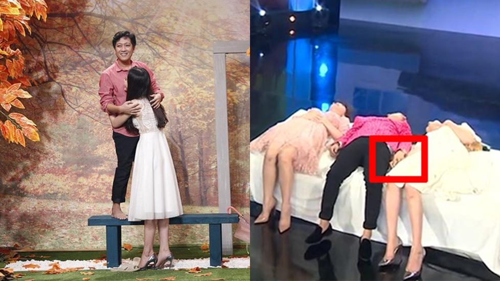 Lộ clip Trường Giang lén lút nắm tay Nam Em trên sóng truyền hình