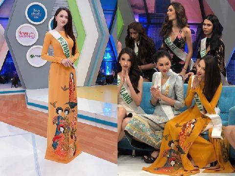 Hương Giang diện áo dài hút mắt trên truyền hình Thái Lan