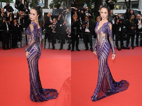 Nguyễn Ngọc Anh gây phản cảm với váy xuyên thấu hở hang trên thảm đỏ Cannes