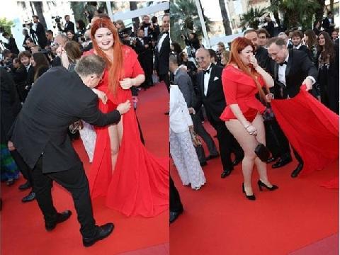 Người mẫu Nga tuột váy trên thảm đỏ Cannes