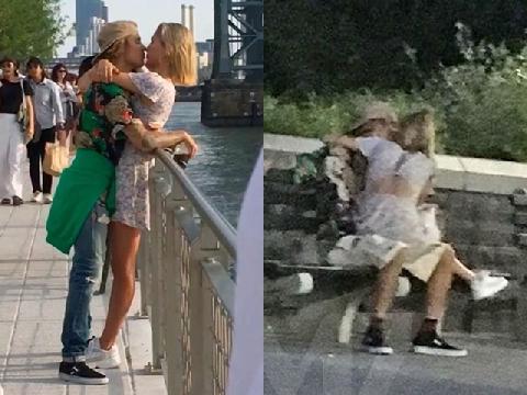 Justin Bieber ôm hôn Hailey Baldwin đắm đuối giữa nơi đông người