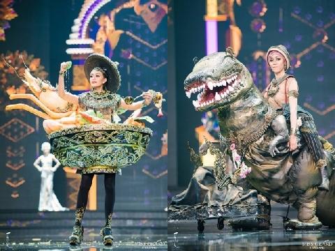 Thí sinh Miss Grand Thailand khủng long, ốc sên... lên trình diễn quốc phục