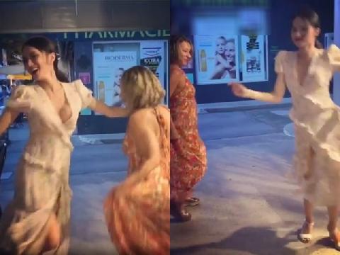 Hương Giang nhảy múa, ăn mừng cùng người dân Pháp sau World Cup