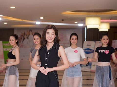 Đỗ Mỹ Linh xinh rực rỡ thị phạm người đẹp Hoa Hậu Việt Nam đi catwalk