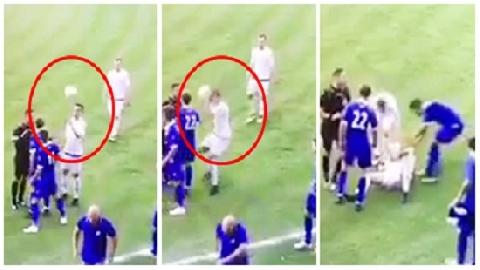 Cầu thủ tự đập bóng vào đầu rồi… ăn vạ!