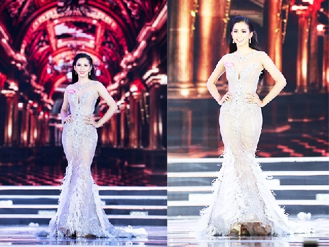 Tận mắt bộ cánh ngày đăng quang của hoa hậu Trần Tiểu Vy