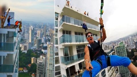 Liều mạng nhảy dù từ nóc tòa nhà 19 tầng, gặp ngay sự cố đầy đau đớn