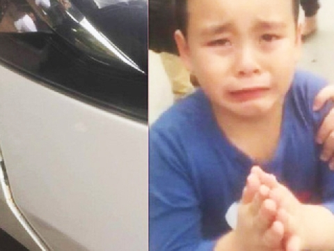 Cậu bé khóc giàn giụa, chắp tay xin lỗi vì đâm xước ôtô gây bão mạng