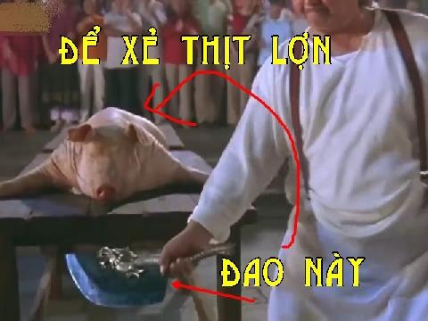 Sang như Hồng Kim Bảo, cầm Long Đồ Đao để xẻ thịt lợn