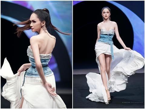 Hoa hậu Hương Giang ''gây mê'' với cú tung váy thần sầu khi làm người mẫu