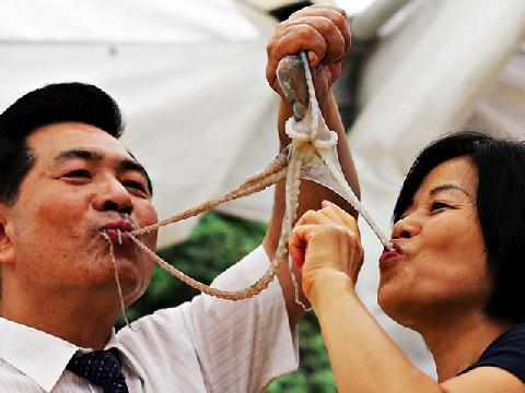 Ăn cả con bạch tuộc sống theo cách kinh dị nhất!