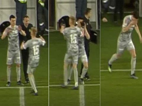 Đập tay thay người, cầu thủ bị đồng đội chọc vào mắt