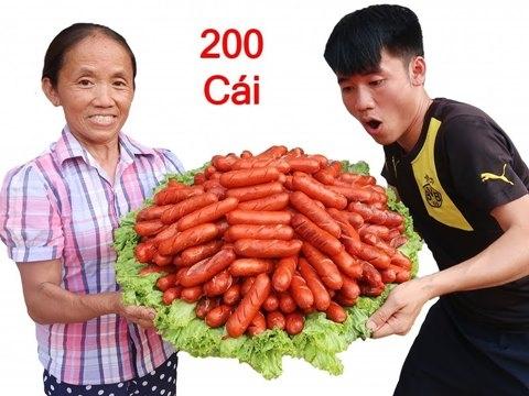 Nướng 200 cái xúc xích siêu cay khổng lồ - Bà Tân Vlog