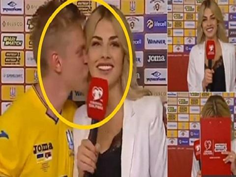 Nữ phóng viên e thẹn khi bị cầu thủ Man City cưỡng hôn