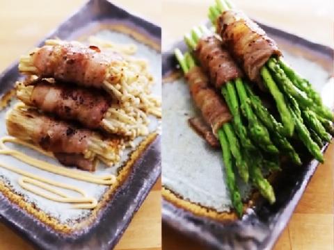 3 mẹo nướng thịt cuốn nấm kim châm, măng tây và tôm sú