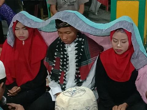 Số hưởng: Chàng trai kết hôn 1 lúc với 2 cô dâu ở Malaysia