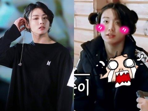 ''Mém xỉu'' ngắm Jungkook (BTS) buộc tóc hai bên, cài hoa chạy tung tăng