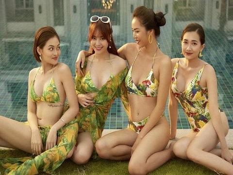 Ninh Dương Lan Ngọc cùng 'hội chăn chuối' diện bikini ở bể bơi