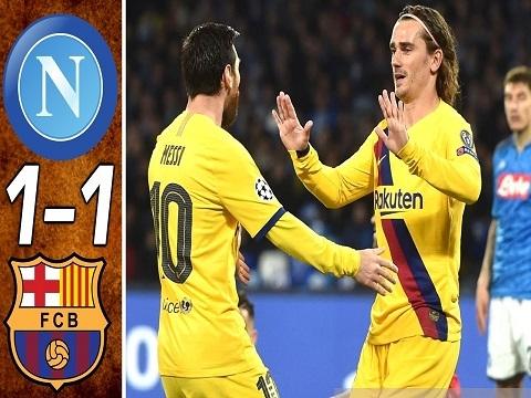 Napoli 1-1 Barcelona: Messi tịt ngòi, Barca chật vật có 1 điểm