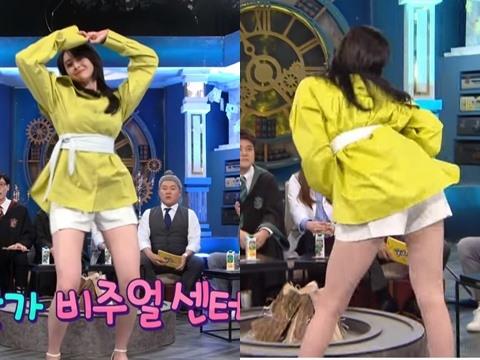''Bánh bèo Itaewon'' Kwon Nara hớ hênh vòng 3 bốc lửa khi mải nhảy trên show