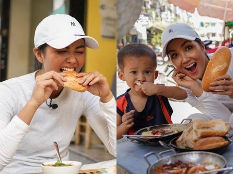 Rớt nước miếng khi xem H'Hen Niê thử bánh mỳ ngon nhất Sài Gòn
