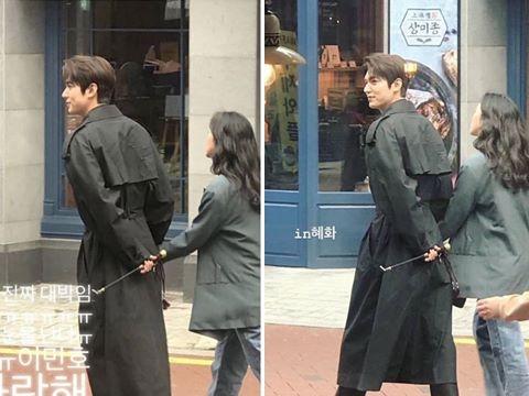 Rò rỉ ảnh hậu trường Lee Min Ho nắm tay Kim Go Eun phim giả tình thật?