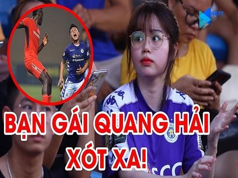 Người yêu Quang Hải xót xa khi nhìn bạn trai bị cầu thủ HAGL phạm lỗi