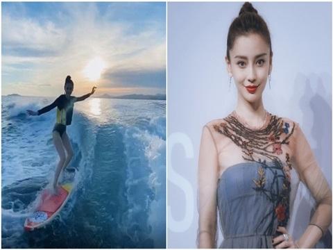 Angela Baby lướt sóng siêu ngầu, body 'chất như nước cất'