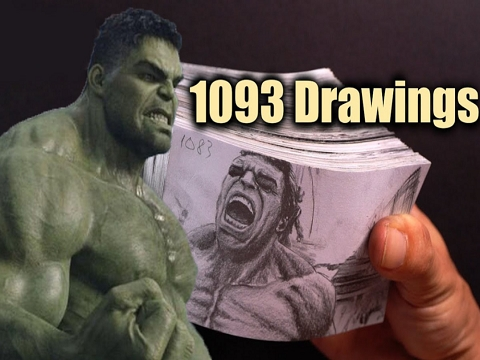 Vẽ 1093 Bức Hình Cảnh Hulk Biến Hình Để Có Một Cuốn Flipbook 30 Giây