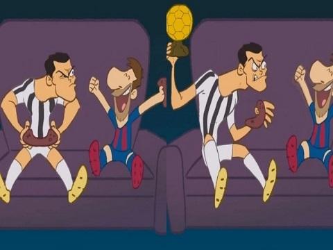 Chơi game thua, Ronaldo cầm QBV ném Messi