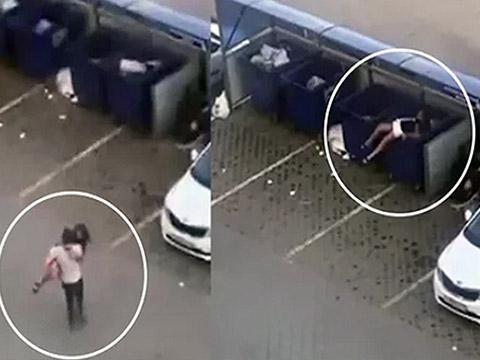 Chàng trai ném bạn gái vào thùng rác cho tỉnh rượu