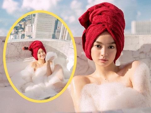 Lộ clip Kaity Nguyễn tắm bán nude trên phim trường