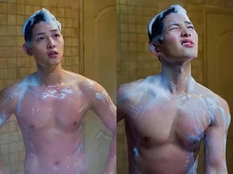 Song Joong Ki gây sốt với cảnh tắm khoe thân hình cơ bắp