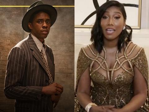 """Vợ """"báo đen"""" Chadwick Boseman khóc khi thay chồng nhận giải """"Quả Cầu Vàng"""""""